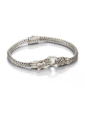 John Hardy Naga 18k Yellow Gold & Sterling Silver Dragon Bracelet In Silver-gold