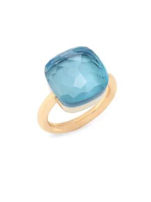 Pomellato Nudo 18k Rose Gold & Blue Topaz Large Square Ring