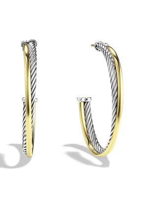 David Yurman Crossover Extra-large Hoop Earrings With Gold In Silver Gold
