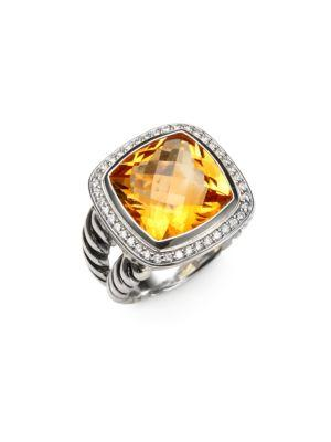 David Yurman Albion Ring With Diamonds In Citrine