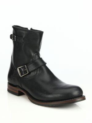 Frye Logan Engineer Zip Boots In Black