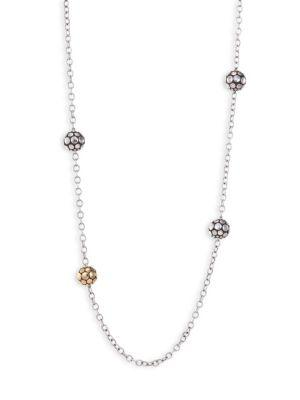 John Hardy Dot 18k Yellow Gold & Sterling Silver Station Necklace In Silver Gold