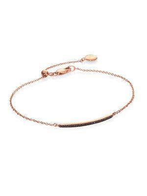 Monica Vinader Skinny Short Bar Black Diamond Chain Bracelet In Rose Gold