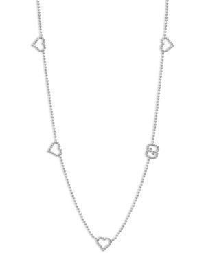 Gucci Boule Heart & Interlocking G Sterling Silver Station Necklace