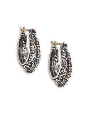 """Konstantino Penelope Sterling Silver Filigree Hoop Earrings/1"""""""