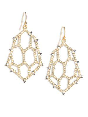 Alexis Bittar Elements Spiked Crystal Honeycomb Drop Earrings In Gold