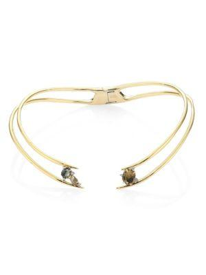 Alexis Bittar Elements Mosaic Futurist Hinged Collar Necklace In Gold