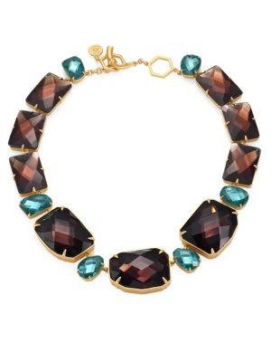 Tory Burch Crystal Stone Statement Necklace In Denim Blue