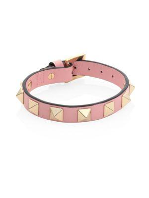 Valentino Garavani Small Rockstud Leather Bracelet In Rose