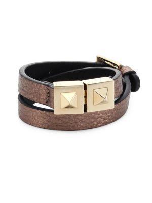 Valentino Garavani Two-stud Metallic Leather Wrap Bracelet In Gold-brown