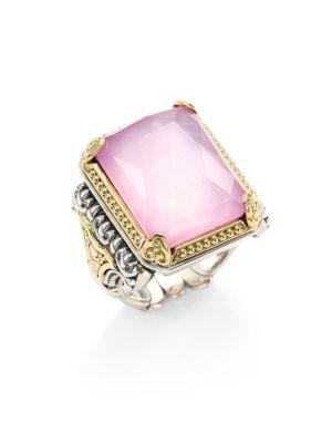 Konstantino Iliada Pink Mother-of-pearl, Quartz Doublet, 18k Yellow Gold & Sterling Silver Rectangle Ring In Violet