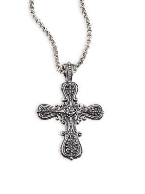Konstantino Penelope Etched Sterling Silver Cross Pendant