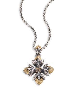 Konstantino Hebe 18k Yellow Gold & Sterling Silver Floral Cross Pendant Necklace In Silver-gold