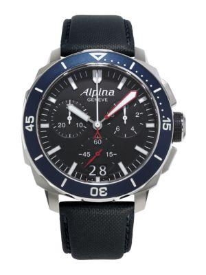Alpina Seastrong Diver 300 Chronograph Watch In Black
