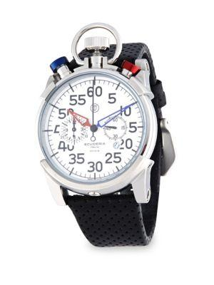 Ct Scuderia Corsa Stainless Steel & Perforated Leather Strap Watch In White