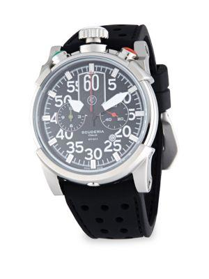 Ct Scuderia Saturno Stainless Steel & Leather Strap Watch In Black