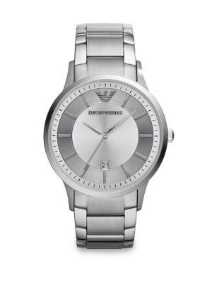 Emporio Armani Round Stainless Steel Watch In Silver