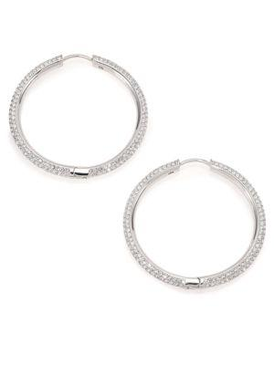 "Adriana Orsini PavÉ Hoop Earrings/1.4"" In Silver"