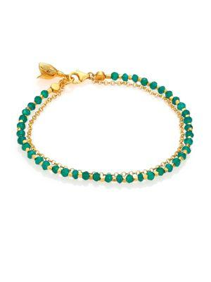 Astley Clarke Biography Green Agate Beaded Flower Charm Friendship Bracelet In Gold-Lapis Lazuli