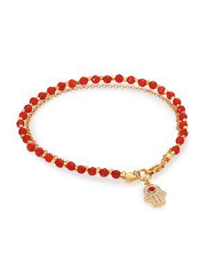 Astley Clarke Biography Red Agate & White Sapphire Hamsa Beaded Friendship Bracelet In Gold-red