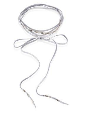 Chan Luu White Mother-of-pearl & Leather Wrap Necklace