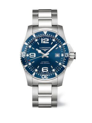 Longines Hydroconquest Stainless Steel Automatic Bracelet Watch In Blue Silver