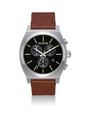 Nixon Time Teller Chronograph Leather Strap Watch In Black Saddle