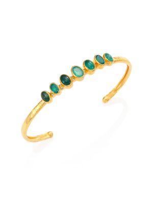 Gurhan Amulet Hue Emerald & 24K Yellow Gold Bangle Bracelet In Gold-Emerald