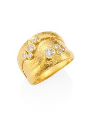 Gurhan Pointelle Diamond & 22-24k Yellow Gold Ring