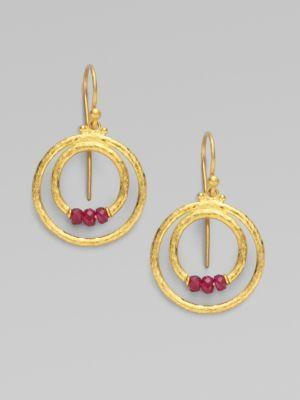 Gurhan 24k Gold & Ruby Double Hoop Earrings