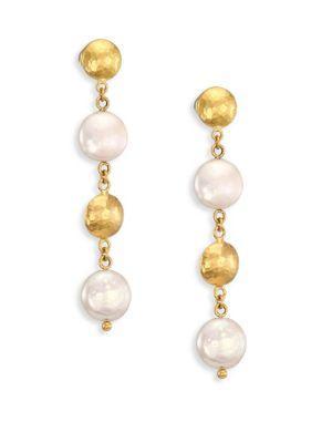 Gurhan Lentil 13mm White Coin Pearl & 22-24k Yellow Gold Drop Earrings