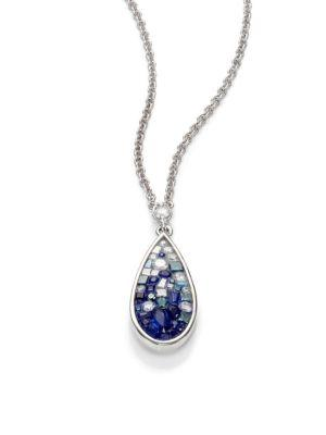 PlevÉ Blue OmbrÉ Diamond, Sapphire & 18k White Gold Teardrop Pendant Necklace
