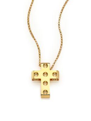 Roberto Coin Pois Moi 18k Yellow Gold Cross Pendant Necklace
