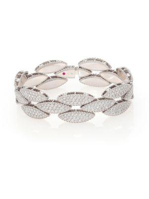 Roberto Coin Retro 18k White Gold & Diamond Bangle Bracelet