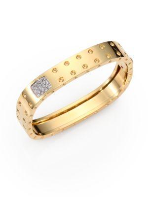 Roberto Coin Pois Moi Diamond And 18k Yellow Gold Two-row Bangle Bracelet