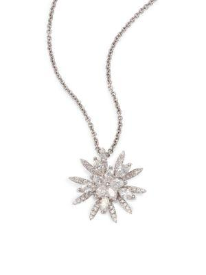 Roberto Coin Diamond & 18k White Gold Flower Pendant Necklace