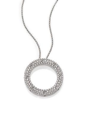 Roberto Coin Pois Mois Diamond & 18k White Gold Circle Pendant