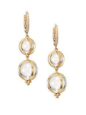 Temple St. Clair Double Amulet, Rock Crystal, Diamond & 18k Yellow Gold Drop Earrings