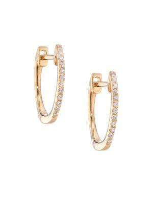 Ef Collection Diamond & 14k Yellow Gold Huggie Earrings/0.5""