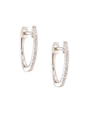 "Ef Collection Diamond & 14k White Gold Huggie Earrings/0.5"""
