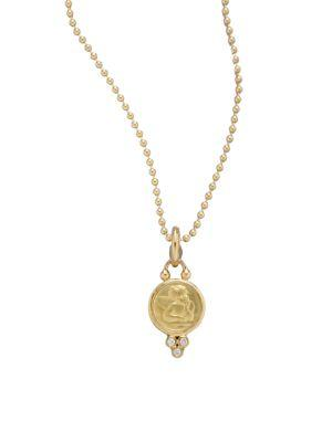 Temple St. Clair Angel Diamond & 18k Yellow Gold Small Pendant In Multi