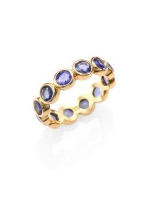 Temple St. Clair Classic Color Sapphire & 18k Yellow Gold Eternity Band Ring In Blue Sapphire