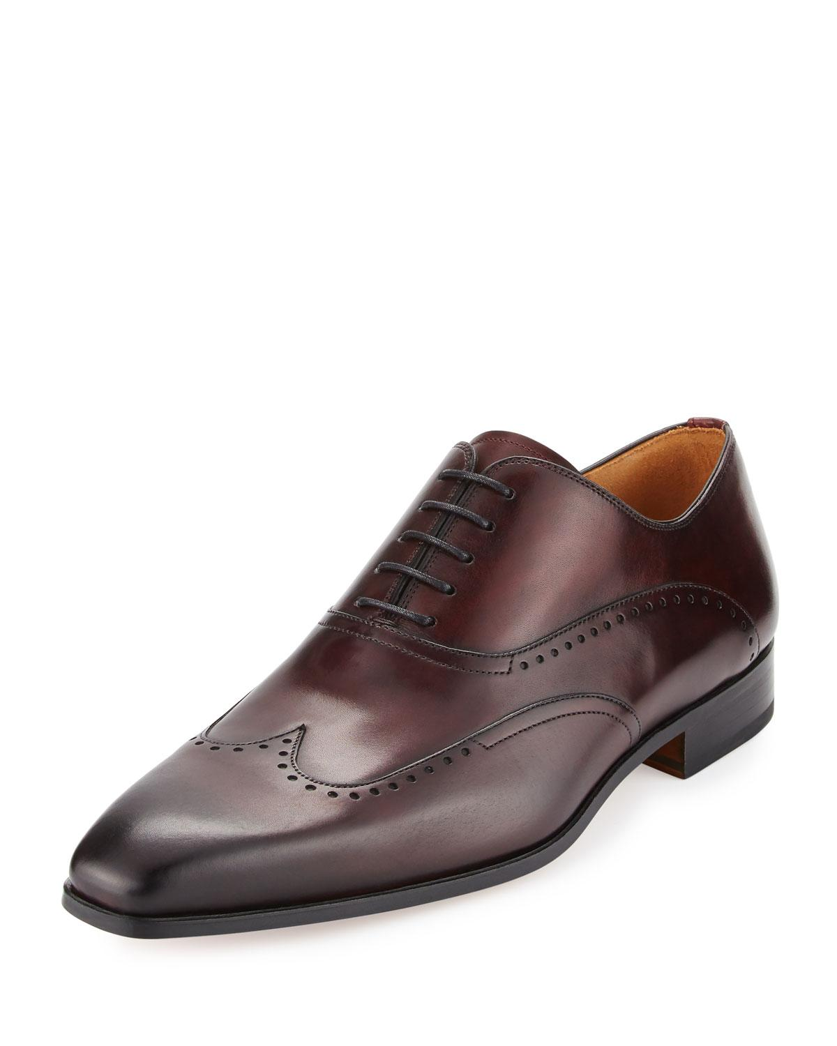 Neiman Marcus Hand-antiqued Leather Wing-tip Oxford, Burgundy In Purple