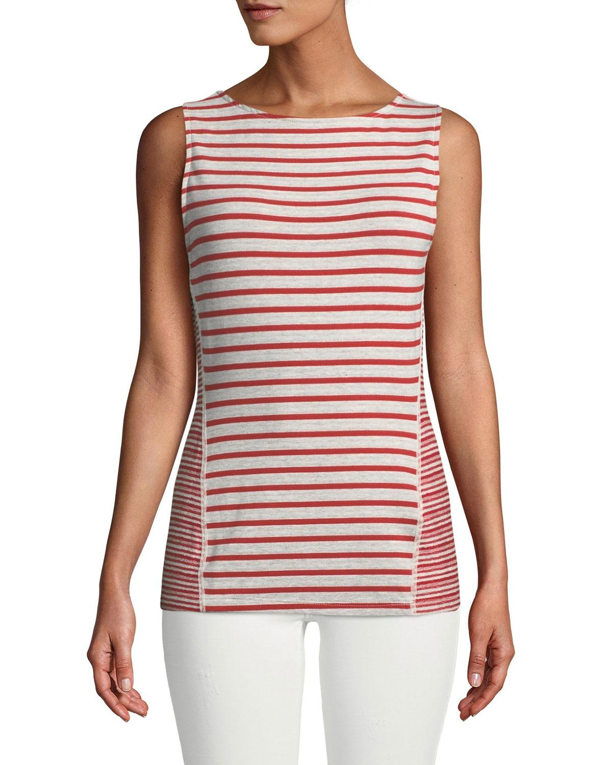 Three Dots Easy British Striped Tank In Red