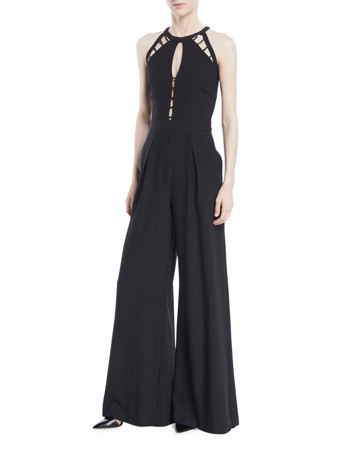 Zac Posen Sasha Openwork Wide-leg Jumpsuit In Black