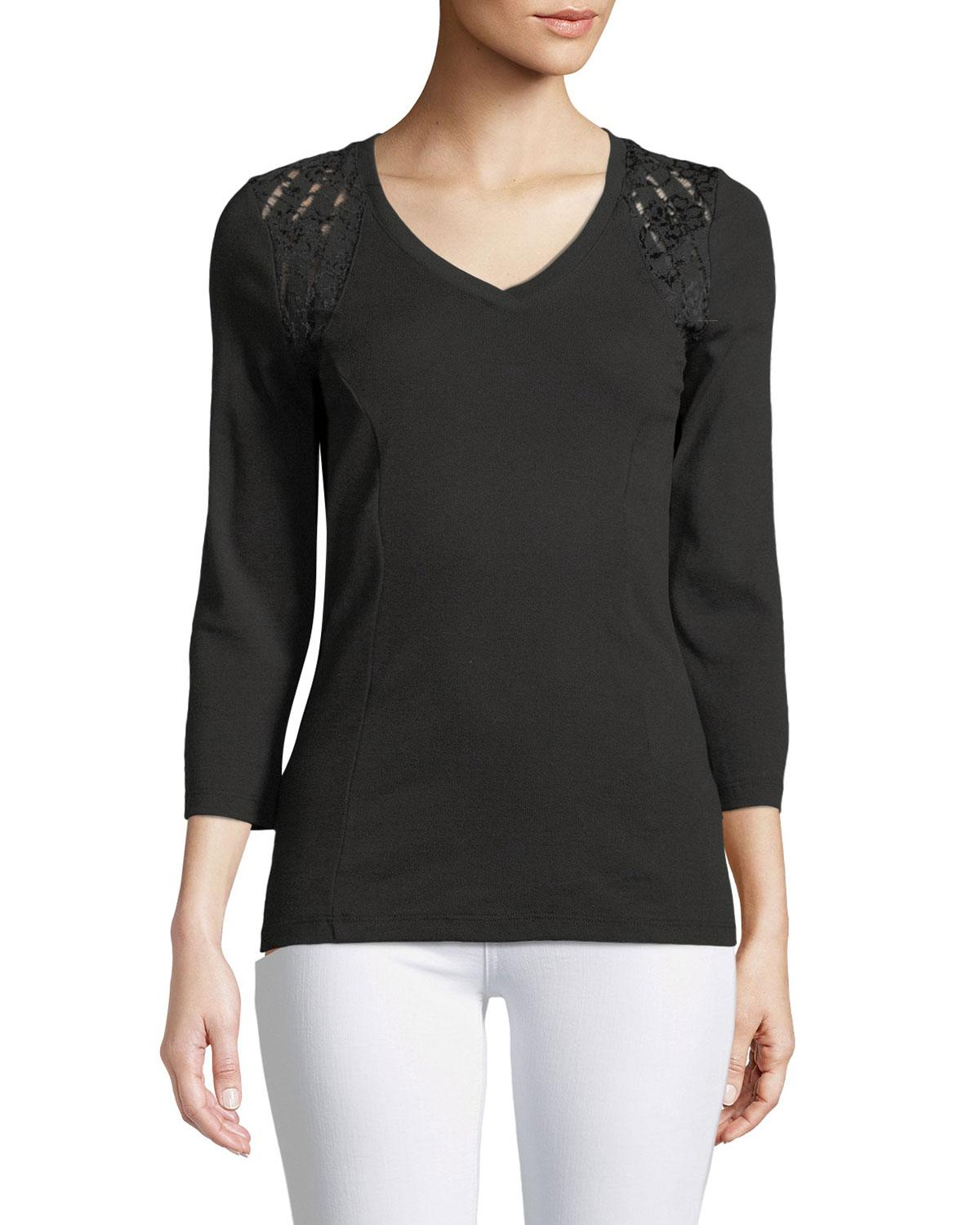 Three Dots 3/4 Sleeve Lace-shoulder Tee In Black