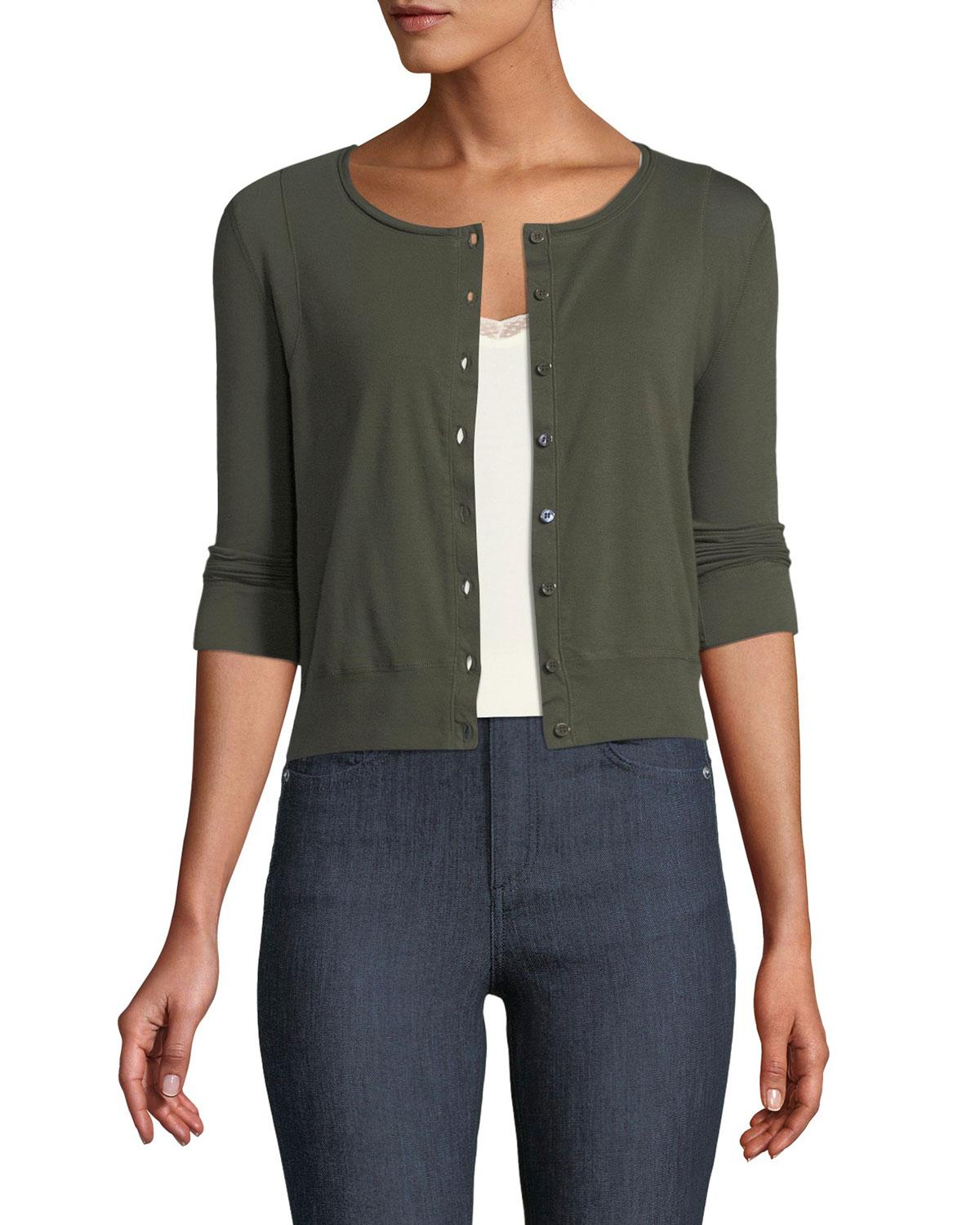Three Dots 3/4-sleeve Button-front Cardigan In Green
