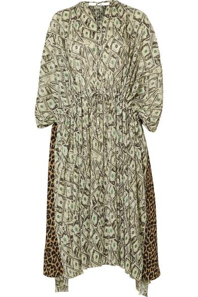 Balenciaga Convertible Printed PlissÉ-crepe Dress In Green
