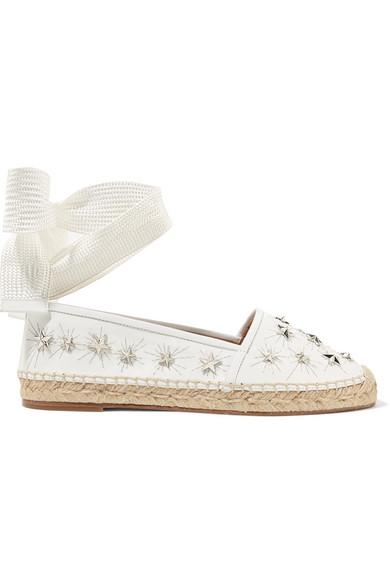 Aquazzura Cosmic Stars Embellished Leather Espadrilles In White