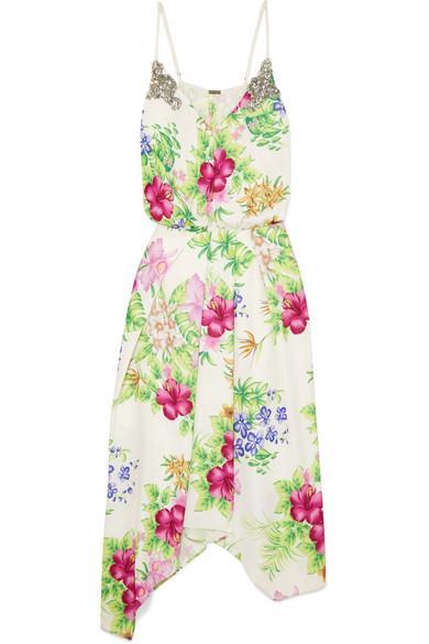 Dodo Bar Or Crystal-embellished Floral-print Chiffon Midi Dress In White